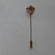 SOLD Vintage  10k Stick Pin Yellow Rose  Garnet Seed Pearl