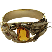 Vintage WHITING & DAVIS Floral Bangle Bracelet w/ Amber Glass Stone