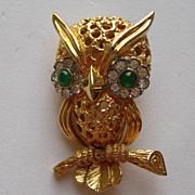 SALE Vintage Jomaz Owl Rhinestone Gold Tone Pin Brooch