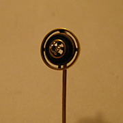 Vintage 14K Stick Pin Art  Deco Onyx Diamond AWESOME