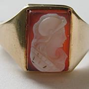 SALE Vintage Edwardian Ring 10 Karet Gold Yellow Hardstone Cameo