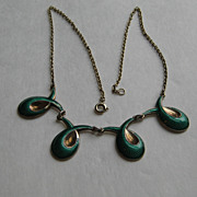 SALE Vintage Norway Necklace Green Guilloche Modernism