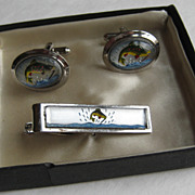Vintage Cufflinks Hand  Painted TROUT Figural Glass Domed With Tie Tac