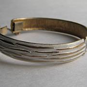SALE Vintage Kramer Bracelet Clamper Cuff White Enamel