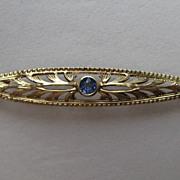 SALE Vintage Art Deco 14k Blue Sapphire Yellow Gold  Bar Pin