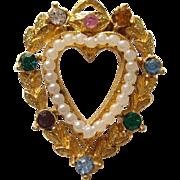"SALE Vintage Crown Trifari ""LOVE""  Heart Faux Pearl Pin Brooch"