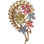 Vintage Crown Trifari FRAGONARD Comet Pin Abstract Rhinestone Brooch Pin