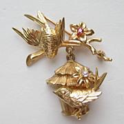 SALE Vintage Napier RARE 14k Yellow Gold Birds Birdhouse Ruby Diamond Pin Brooch