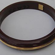 Vintage NEMO Bangle Bracelet Lucite Brown Gold Tone Accent