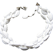SALE Vintage Miriam Haskel Triple Strand Swirl Twisted White Poured Glass Necklace