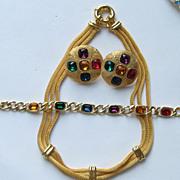 SALE Vintage NAPIER Necklace Bracelet Clip Earrings Rhinestone Mesh Set