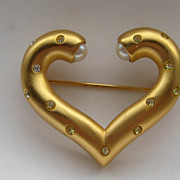 Vintage Givenchy Gold Heart Faux Pearl Rhinestone Sparkly