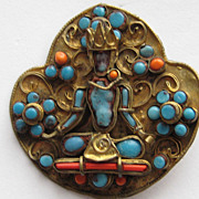Very Old Tibetan Faience Buddha Brass Pin Turquoise Coral Brooch