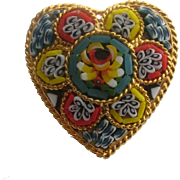 SALE Vintage italy Micro Mosaic Heart Floral Flower Pin Brooch