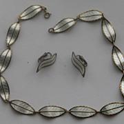 """Sterling Enamel Norway Ivar Holt Modernist """"Leaf """" Necklace Earrings Stunning"""