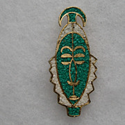 """Vintage Tortolani """" AFRICAN"""" Tribal Face Molded Glass on Gold Plating"""