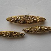"""Vintage Art Nouveau 14k Yellow Gold  """"3""""  Krementz Pins Women's Faces Floral Set"""