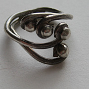 SALE Vintage Taxco Mexico  Modern Modernist Ring Sterling Silver SIZE 7  Signed Early