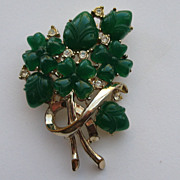 Vintage Coro Signed Brooch Pin Fruit Salad Gold Tone Green Four Leaf Clover Acorn Clear Rhines