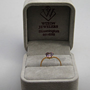 "Vintage 10k Ring Yellow Gold ""HEART"" Shape Amethyst Size 6 Petite"
