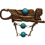 Vintage Egyptian Sphinx Faux Turquoise Revival Brass Pin Brooch