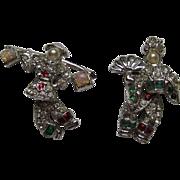 SALE Vintage Asian Couple SWINGING Pin Set Signed 1938 Rhinestones Rhodium MINT