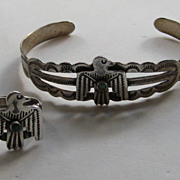 SALE Vintage THUNDERBIRD Bracelet RING Fred Harvey Style Coin Silver