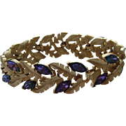 Vintage Crown Trifari Bracelet PURPLE Navette Floral Leaf Signed
