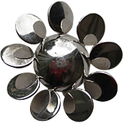 Vintage DeRosa Sterling Silver Flower Abstract Modernism RARE Brooch Pin
