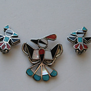 SALE Vintage Zuni Totem Post Thunderbird Sterling Silver Pin Clip Earrings