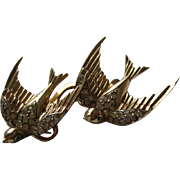 SALE Vintage Coro Sterling Swallow Duette Rhinestone Brooch Fur Clip