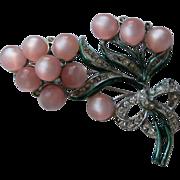 SALE Vintage Coro Pink MOONGLOW Enamel Rhinestone Brooch Pin