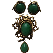 Vintage Victorian Revival Snakes Faux Green Jade Pin Pendent Clip Earrings Brooch Figural