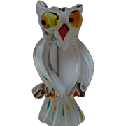 SALE Vintage Lucite OWL Figural Carved Painted Pin Brooch
