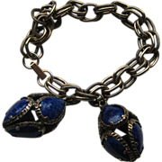 SALE Vintage Trifari Dangle Bracelet Renaissance Collection Lapis Glass