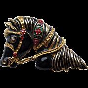SALE Vintage Carnival Horse Head Figural Enamel Pin Brooch