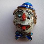 SALE Vintage Alice Caviness Clown Germany Sterling Silver Enamel Marcasite Pin Brooch