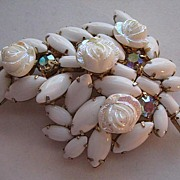 "Vintage Weiss White Rhinestone Rose Floral ""HUGE""  Brooch Pin"