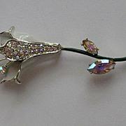 SALE Vintage Weiss Flower Rhinestone Enamel Brooch Pin