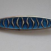 Vintage  David Andersen Norway WAVE  Enamel Guilloche Royal Blue Brooch Pin