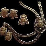 SALE Selro Selini Vintage Thai Princess Necklace Brooch Cufflinks Cuff Link Parure