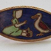 Vintage Cloisonne Enamel Girl Duck Guilloche  Arts  Crafts Brooch Pin