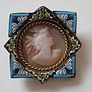 "SALE Vintage Cameo Italian Mosaic ""BEAUTIFUL"" Brooch Pin"