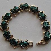 SOLD Vintage Frog Figural Enamel Green Gold Tone Bracelet