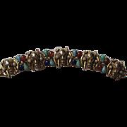 Vintage ART Jungle Native Faux Gemstones Pearl Gold Plated Bracelet