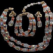 SALE Vintage Vendome CORO  Austrian Crystal Necklace Bracelet Dangle Earring Set