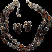 Vintage CORO Vendome Austrian Crystal Root Beer Rhinestone Necklace Earrings Set