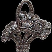 SALE Early Vintage Wiesner Floral  Flower Basket RARE  Rhinestone Pin Brooch Signed
