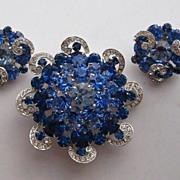 """SALE Early Vintage Weiss Royal Blue Ice Swirls """"HUGE"""" Brooch Earrings Set Signed"""
