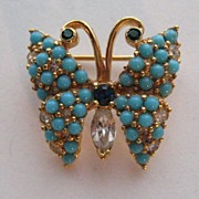 Early Vintage JOMAZ Butterfly Faux Turquoise Rhinestone Brooch Pin Signed